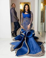 Mermaid Prom Dresses Sexy Formal Party Second Reception Gowns Aso Ebi Arabic Royal Blue Lace Beaded Evening Dress