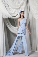 Arabic One Shoulder Jumpsuit Evening Dresses 2022 ligth Sky Blue Peplum side train Pant Suits Occasion Prom Gown