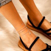Fußklets Einfaches und natürliches Fußkettchen Persönlichkeit Mondreis Perlenkette Wickellegierung Fuß Ring 4 Stück Set Beinarmband