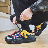 Ucuz-Yeni erkek Spor Koşu Ayakkabıları Rahat Kalın Tabanlı Retro Trend Eski Sneakers Eğitmen Erkekler