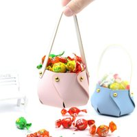 Cute Leather Bag Shape Candy Handbag Gift Cookie Packaging Box Wedding Party Cosmetic Pouch Kid Girl Birthday Wrap