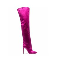 2021 winter fashion Thigh-High boots pointed toes bright satin high heels women shoes party long footwear Plus Size 46