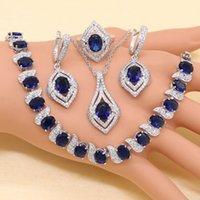 XUTAAYI Arrival 925 Silver jewellery set For Women Blue Semi-precious Necklace Pendant Earrings Ring Bracelet Christmas Gift