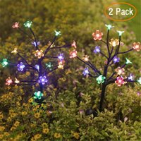 Solar Powered Cherry Blossoms 20 Leds Sakura Colorful Decorative Waterproof Garden Decoration Pathway,Fence,Yard,Holiday Lawn Lamps