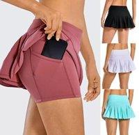 L-07 Tennis Skirts Pleated Yoga Skirt Gym Clothes Women Running Fitness Golf Pants Shorts Sports Back Waist Pocket Zipper lulu