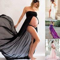 Pudcoco 2019 Pregnant Women Boho Chiffon Bandeau Beach Off Shoulder Long Dress Maternity Photography Props Maxi Dress Clothings X0902