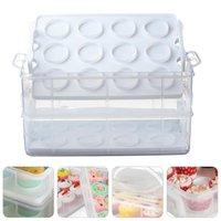 1pc 24 cupcake contenedor pastel transparente portátil caja de almacenamiento portátil regalo envoltura