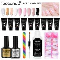 Nail Art Kits 9colors lot 30ml Polygels Kit Quick Builder Gel Set With Base And Top Coat Slip Solution Brush File Tips