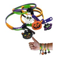 Halloween Fidget Decompression Brinquedos Zipper Braceletes Cesta Stuffers Sensory Friendship Jewelry for Kids Birthday presentes DHL