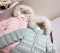 Winter 2021 children's wear Children's down jacket girl's big hair collar down jacket hooded two-color flounced down jacket