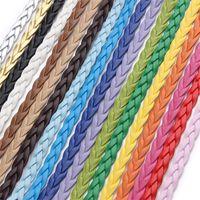 10m / lot bunte flache geflochtene echtes leder schnur für diy halskette armband machen string seil thread schmuck material material