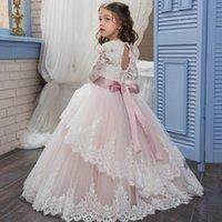 Girl's Dresses Long Sleeve Princess Lace Flower Girl Dress For Wedding Ball Gown Bow Knot Sash Floor Length Formal Children Party