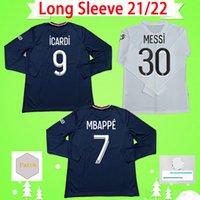 Maillot de pé manga longa PsG 2021 2022 jerseys de futebol paris rosa terceiro roxo casa longe azul quarto vermelho 21 22 mbappe camisa de futebol full s-2xl