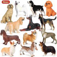 Oenux جديد الكلب الحيوان عمل الشكل corgi poodle الذهبي المسترد السكوسة samoyed نموذج التماثيل pvc جمع لعبة للأطفال x0503