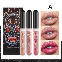 Lip Gloss 3PCS Halloween Diamond Glitter Lipstick Liquid Waterproof Long Lasting Stick Women Red Tint Beauty Cosmetic