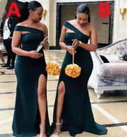 2022 Lateat Bridesmaid Dresses One Shoulder Two Style Wedding Guest Dress Side Split Sexy Long Maid of Honor Bride Formal Party Gowns
