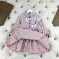 Lüks Çocuklar Etekler Ceket Çocuk Sonbahar Mektup Baskı Tasarım Elbiseler Uzun Kollu Kızlar Prenses Aşınma Boyutu 110-160 Açık Mor