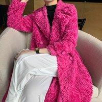 Women's Fur & Faux Real Coat Women 100% Wool Jacket Autumn Winter Clothes 2021 Korean Long Fit Sheep Shearing Fashion Tops 161