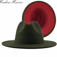 Wide Brim Hats 2021 Fashion Army Green With Red Bottom Patchwork Felt Jazz Hat Women Men Flat Panama Party Cap Faux Wool Fedora