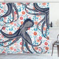 Rideau de douche nautique, monstre de mer SeaLife Octopus kraken avec tentacules et fleurs colorées, tissu tissu de salle de bain décor