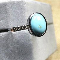 Cluster Rings 11x9mm Top Natural Turquoise Ring For Woman Lady Men Love Gift Silver Crystal Beads Stone Fashion Jewelry Adjustable
