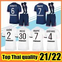 21 22 Mbappe Jerseys 2021 2022 di Maria Wijnaldum Sergio Ramos Hakimi Away Maillots de Football Kit Icardi Vertatti Messi Men Kids Kit