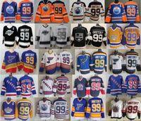 CCM خمر 99 وين Gretzky جيرسي الرجال الهوكي الجليد الهوكي يورك رينجرز سانت لويس بلوز لا لوس أنجلوس ملوك إدمونتون زيتون أزرق أسود أبيض
