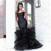 Elegant Black Mermaid Long Prom Dresses Ruffles Organza Off The Shoulder Sexy Graduation Dress Plus Size Formal Party Gowns