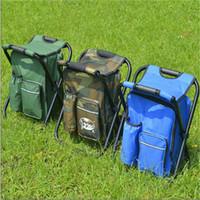 Silla plegable al aire libre Camping Taburete de pesca Portátil Mochila refrigerante Herramientas de picnic aisladas Bolsa Senderismo Mesa de asiento Accesorios