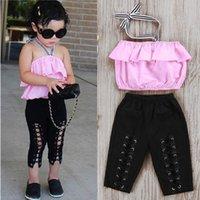 Pudcoco Kız Set 1Y-6Y Moda Kızlar Çocuk Toddler Halter Elastik Pantolon Üstleri 2 adet Kıyafetler Giyim Giyim Setleri