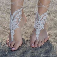 Elegant Lace Beach Wedding Barefoot Sandals 2021 Anklet Chain Cheap Custom Made Bridal Bridesmaid Jewelry Foot