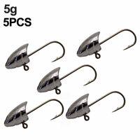 5pcs Lot Barbed Fishing Hooks Lead Jig Head Fishhook For Soft Worm Lure Hook Sea Bass Accessories