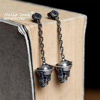 Dangle & Chandelier HelloLook 925 Sterling Silver Horror Earrings Distressed Skeleton Jewelry For Women Men Chinese Zombie Drop Earring