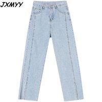 Jeans da donna 2021 Summer Summer Thin Fashion Pantaloni per gambe dritti Casual allentato e gamba larga cotata jxmyy