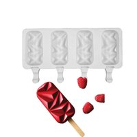 Silicone Ice Cream Moulds 4 Cell Cube Tray Cakesicle Mold Popsicle Maker DIY Homemade Freezer Lolly Mould Cake pop tools