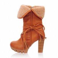 Monerffi High Boots Женские ботинки снега осень зима женские хлопковые телята плюс бархат теплый остроконечный I2T2 #