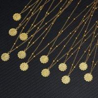 12 signo do zodíaco colares ouro redondo moeda pingente constelação colar para mulheres moda jóias presente de aniversário dropshipping