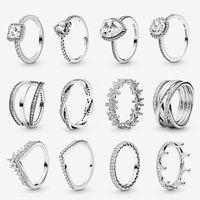 Donne 925 sterling silver sterline anelli di nozze gioielli adagiati in stile Pandora style cz anello diamante con scatola originale Top Quality Ladies Regalo di fidanzamento
