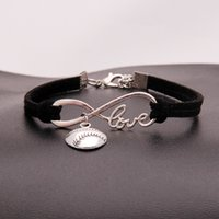 American Softball infinity Bracelets For Women Men Love baseball charm velvet String Rope Wrap Bangle Fashion Sports Jewelry Gift wjl2344