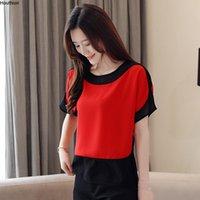 Women's Blouses & Shirts Houthion Chiffon Fashion Shirt Short Sleeve Top O-neck Loose Splicing Blouse Summer Regular