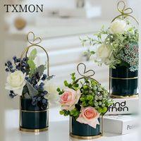 Decorative Flowers & Wreaths Simple Modern Light Luxury Simulation Bouquet Fake Flower Decoration Living Room Table Swing Wine Cabinet Decor