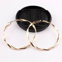 Personality Big Round Circle Alloy Hoop Earrings 2021 Fashion Gold Color Twisted Spiral Trendy For Women Jewelry & Huggie