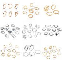 Rings Womens black crystal ring set, 11 pieces   wedding jewelry, retro, snake, flower aesthetics, fashion, finger, 2021