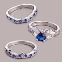 Wedding Rings Fashion Couple Ring Blue Purple Men's White Heart-shaped Rhinestone Zircon Ladies Set Engagement Gift