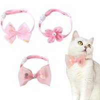 Cat Collars & Leads Lace Collar Breakaway With Cute Bow Tie Flower Adjustable Safety Kitten Accessories For Cats Small Dogs Pink