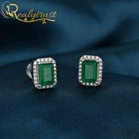 Reaytrust Solid 925 Sterling Silver Colombia Emerald Lab ha creato orecchini per borchie diamantati per le donne regalo di compleanno del partito di nozze 210323