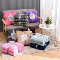 Decken Weiche flaumige gestreifte Flanelldecke für Betten Solid Coral Fleece Plüsch Wurf Winter Bett Bettwäsche Sofa Cover Bedscread