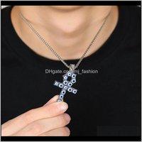 & Drop Delivery 2021 Iced Out Ankh Cross Pendant Necklaces Men Luxury Designer Mens Resin Turkey Blue Eyes Pendants Hiphop Key Of Life Neckla