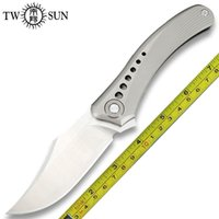 Twosun facas ao ar livre camping titânio 14c28n flipper faca de bolso dobrável TS240