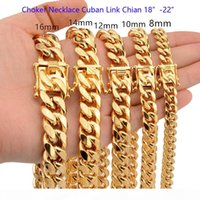 8mm 10mm 12mm 14mm 16mm 18mm 18inch-22inch CHOKER NECKLACE High Polished Cuban Link Chains Men Women 316L Stainless Steel Double Safty Clasp